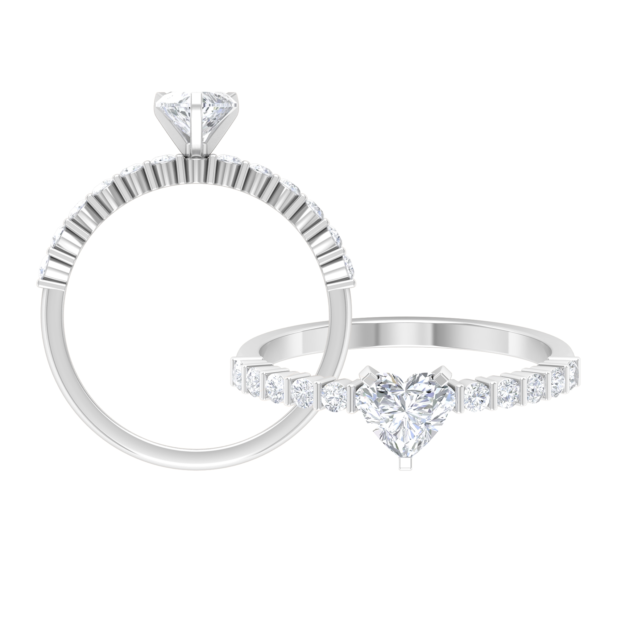 3/4 CT Heart Shape Diamond Solitaire Ring in 3 Prong Peg Head Setting with Channel Set Side Stones