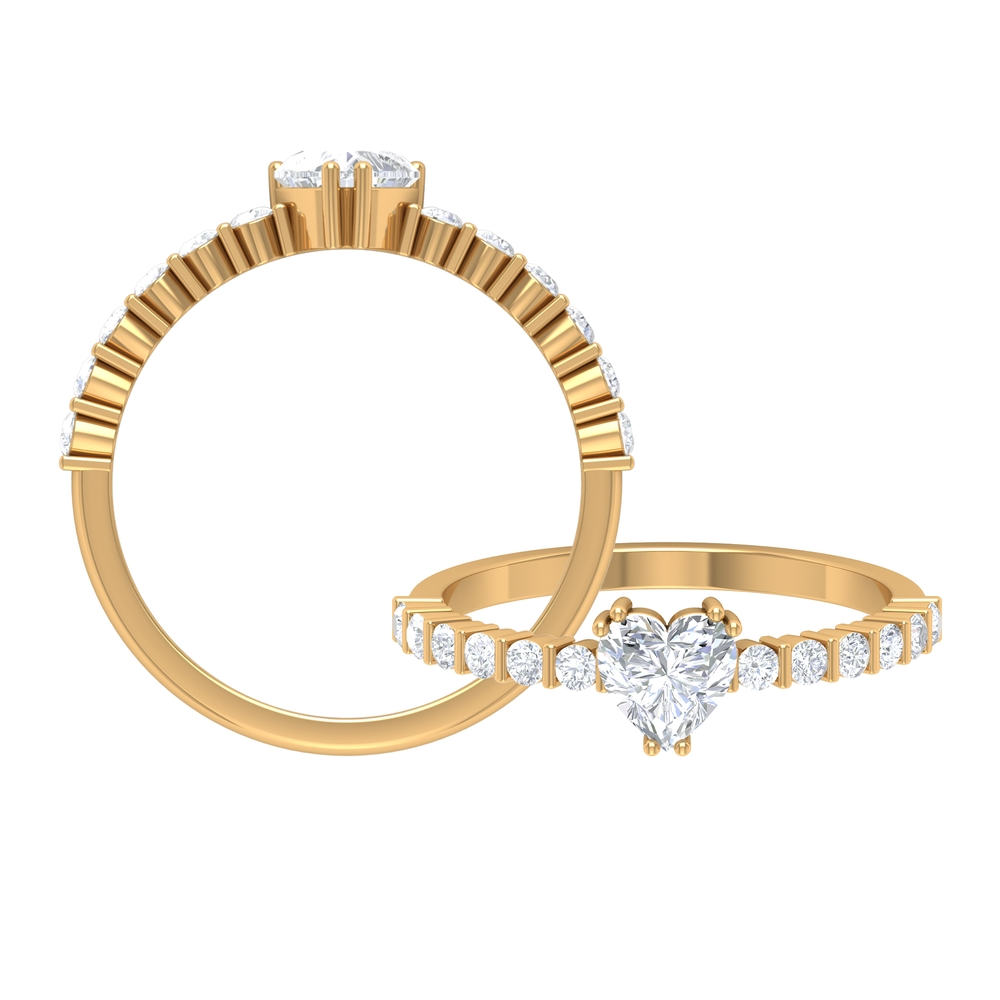 3/4 CT Heart Shape Solitaire Diamond Ring in Double Prong Setting with Side Stones