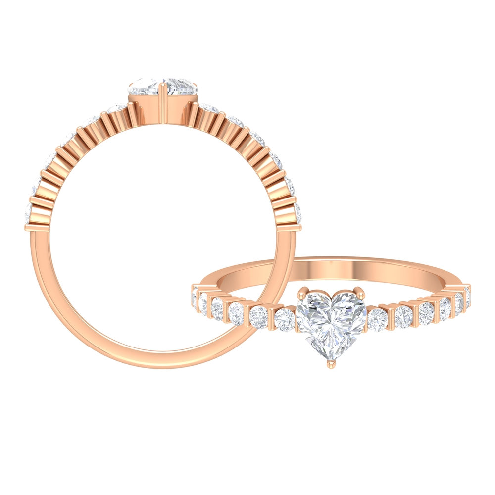 3/4 CT Heart Shape Diamond Solitaire Ring with Side Stones in 3 Prong Setting