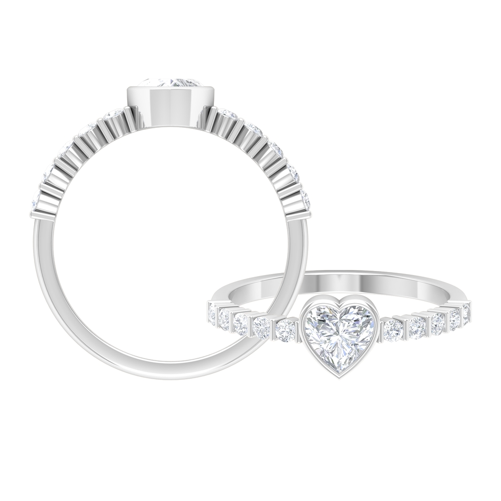 3/4 CT Heart Shape Diamond Solitaire Ring with Side Stones in Bezel Setting