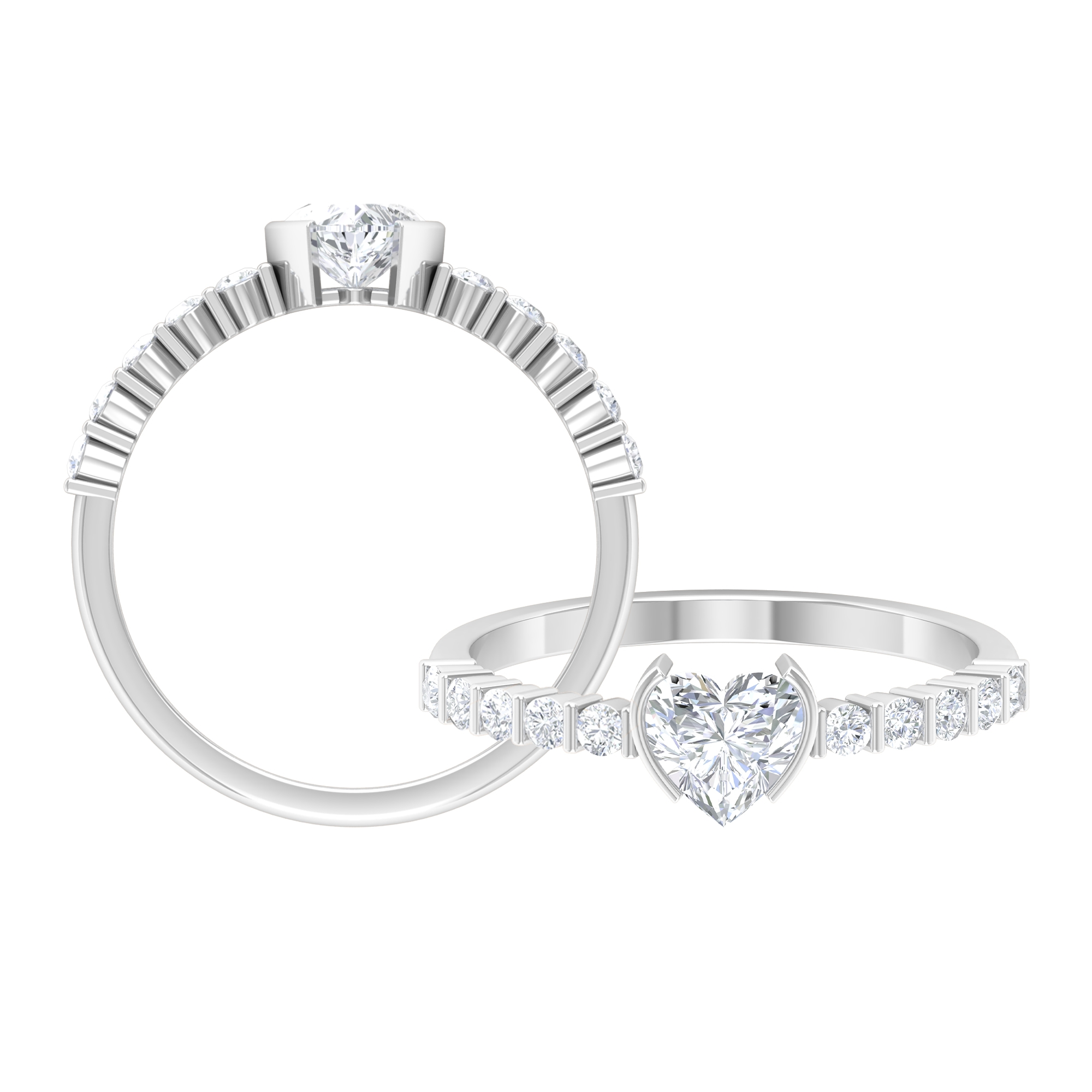 3/4 CT Heart Shape Diamond Solitaire Ring in Bar Setting with Side Stones