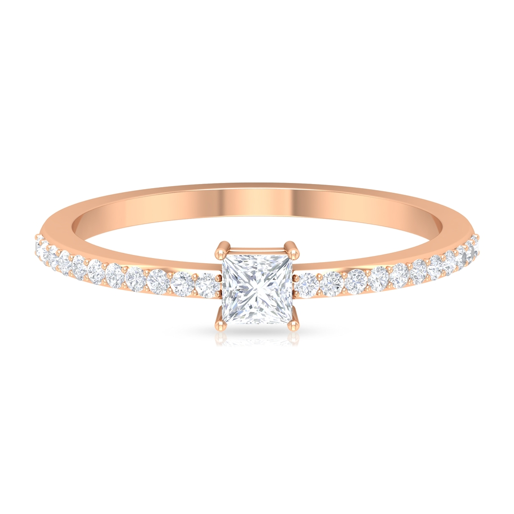 1/2 CT Princess Cut Diamond Solitaire Ring in 4 Prong Setting with Surface Prong Set Diamond