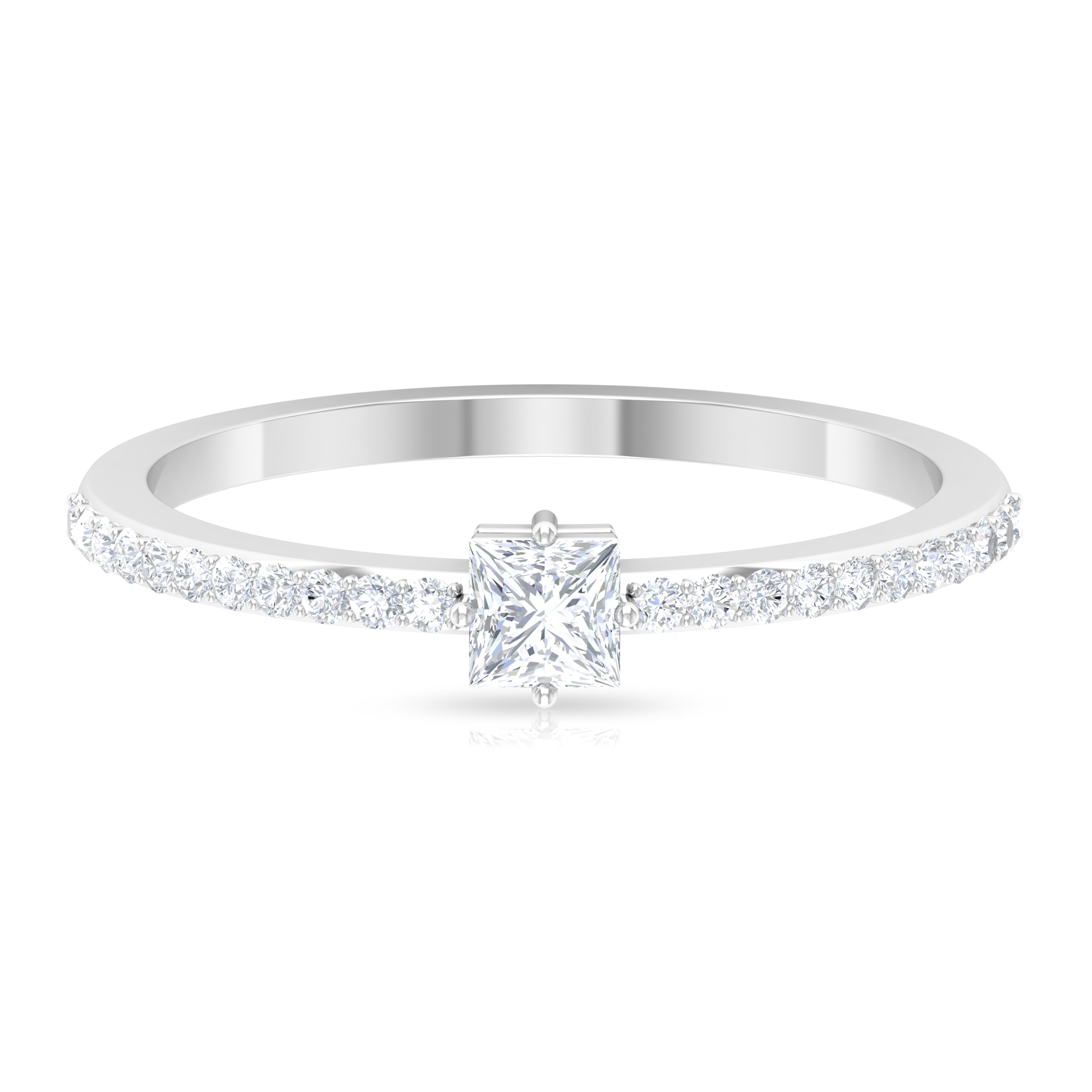 Four Prong Diagonal Set 0.50 CT Princess Cut Diamond Solitaire Ring with Surface Prong Set Side Stones
