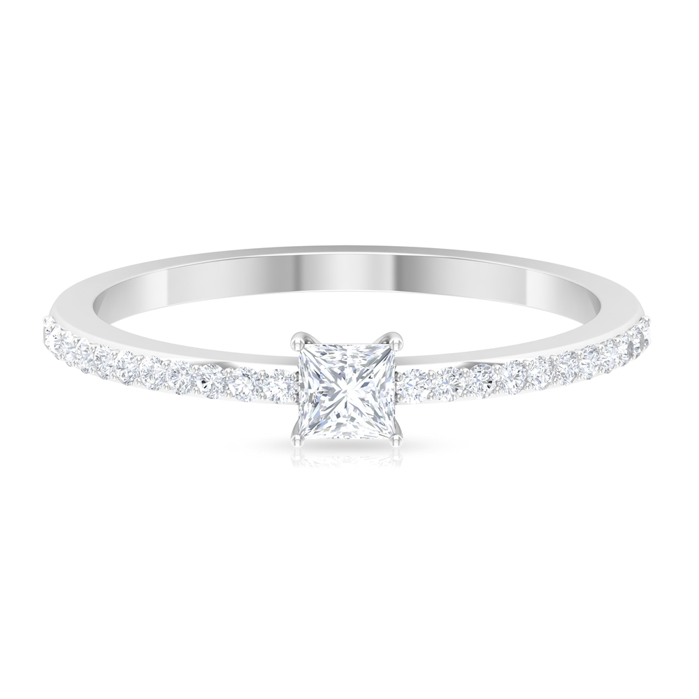 1/2 CT Princess Cut Diamond Solitaire Ring in Basket Setting with Surface Prong Set Diamond