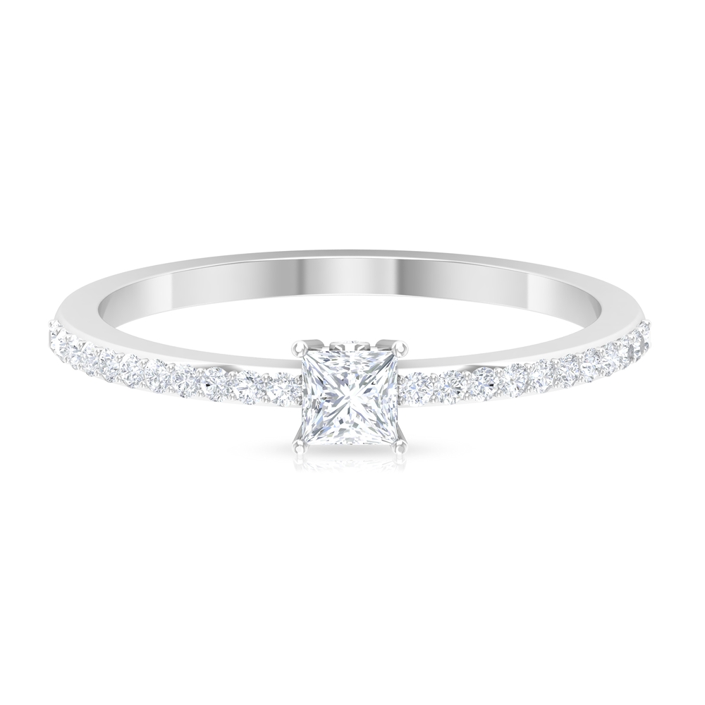 0.50 CT Princess Cut Diamond Solitaire Ring with Surface Prong Set Side Stones and Surprise Shank Style