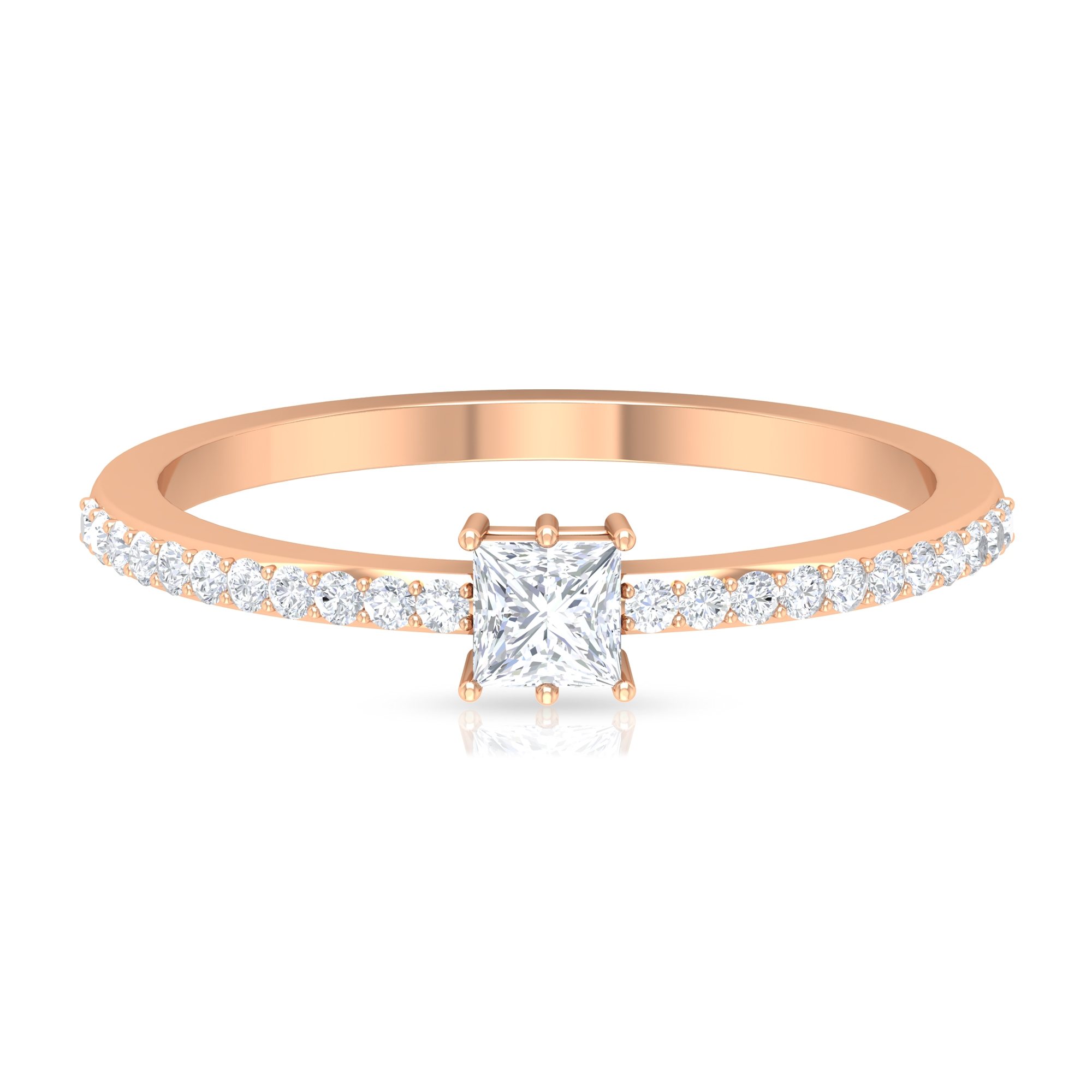 Six Prong Set 0.50 CT Princess Cut Diamond Solitaire Ring with Surface Prong Set Side Stones