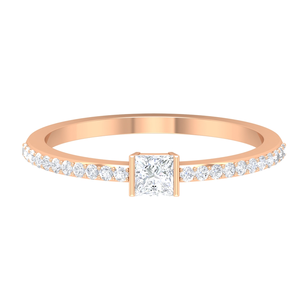 Bar Set 0.50 CT Princess Cut Diamond Solitaire Ring with Surface Prong Set Side Stones