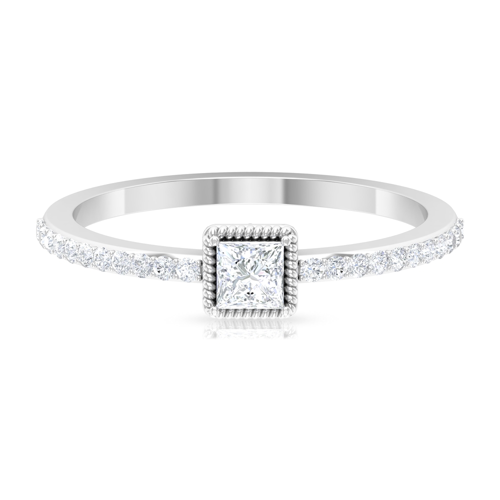 0.50 CT Princess Cut Solitaire Diamond Rope Frame Ring with Surface Prong Set Side Stones