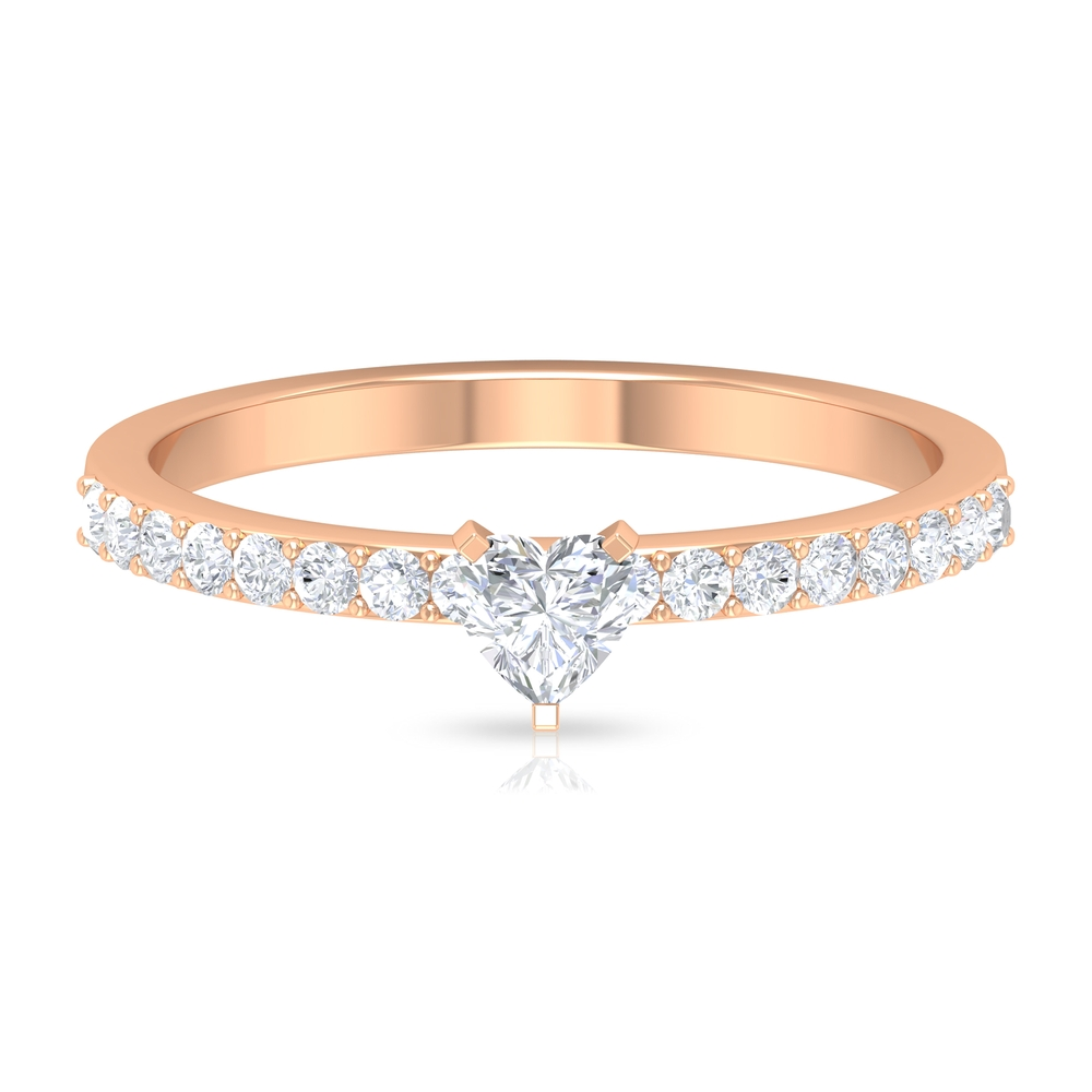 Three Prong Peg Head Set 4 MM Heart Diamond Solitaire Ring with Surface Prong Set Side Stones