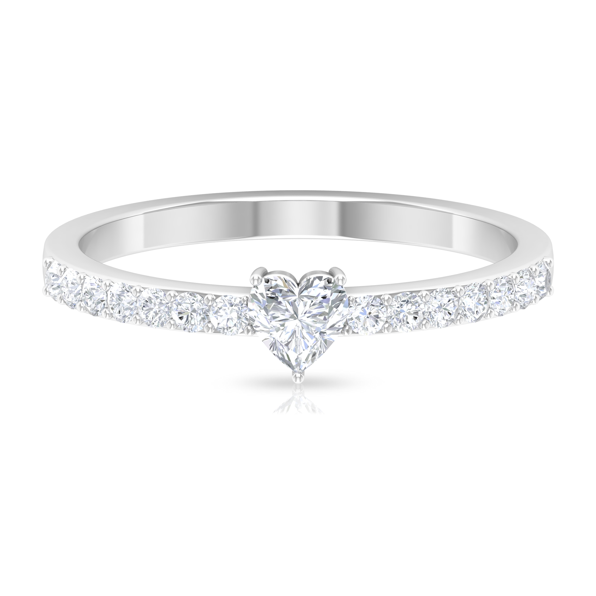 Three Prong Set 4 MM Heart Diamond Solitaire Ring with Surface Prong Set Side Stones