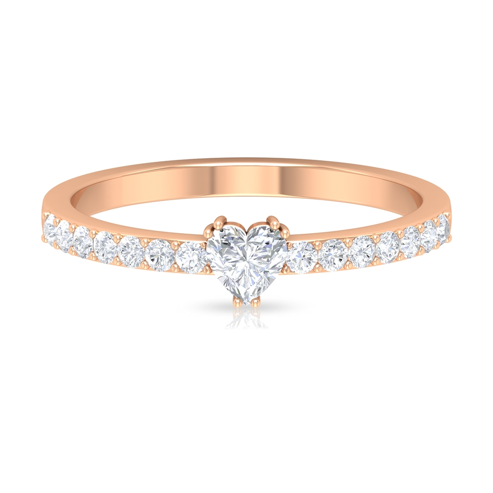 Double Prong Set 4 MM Heart Diamond Solitaire Ring with Surface Prong Set Side Stones
