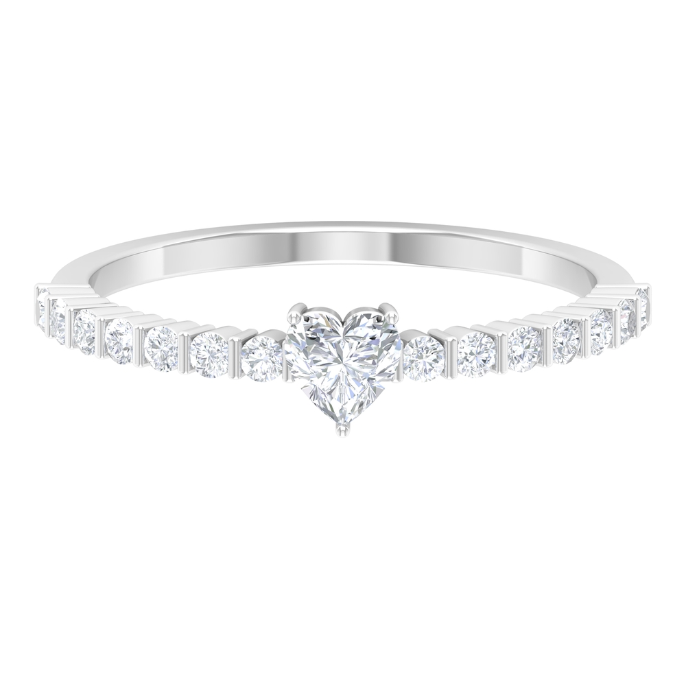 Bezel Set 4 MM Heart Diamond Solitaire Ring with Surface Prong Set Side Stones