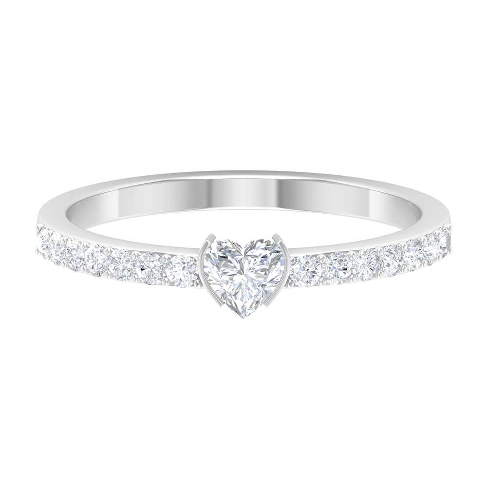 Half Bezel Set 4 MM Heart Diamond Solitaire Ring with Surface Prong Set Side Stones