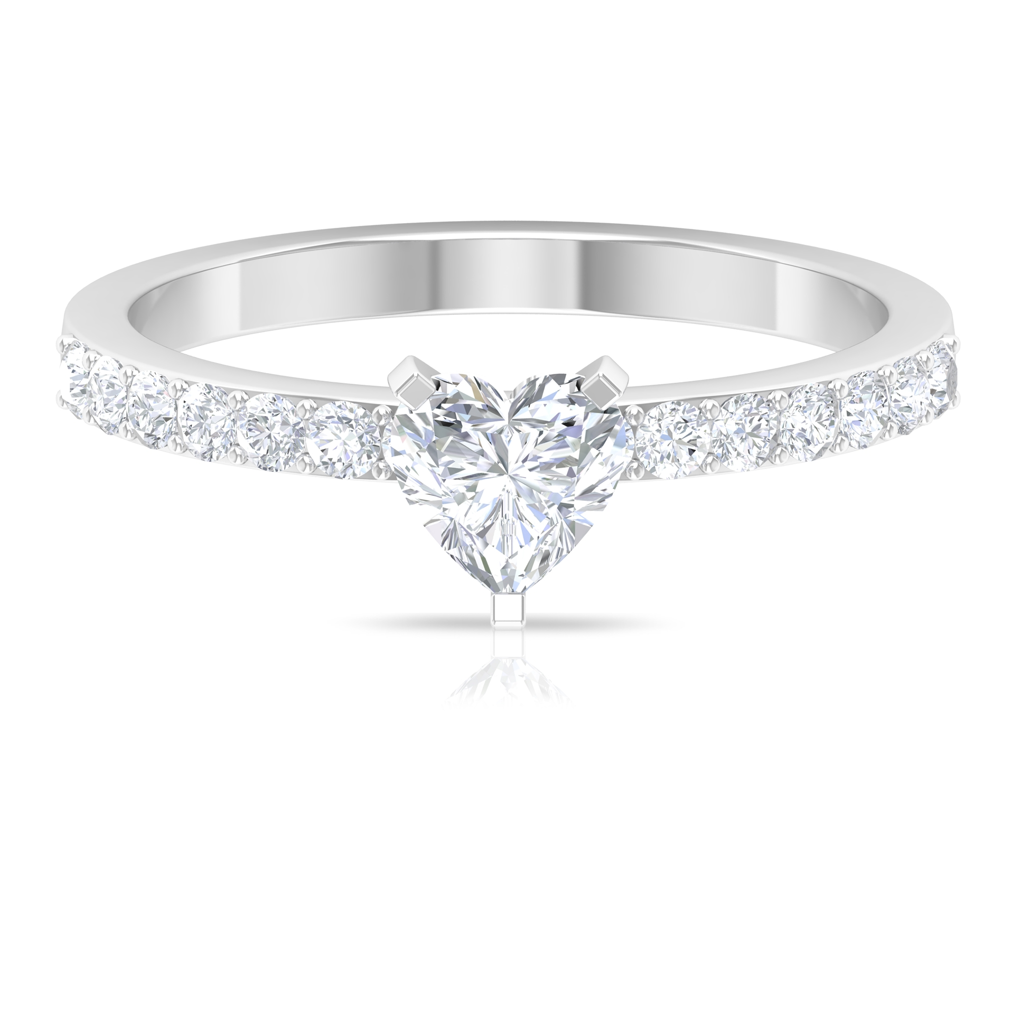 3/4 CT Heart Shape Diamond Solitaire Ring in 3 Prong Peg Head Setting with Surface Side Stones