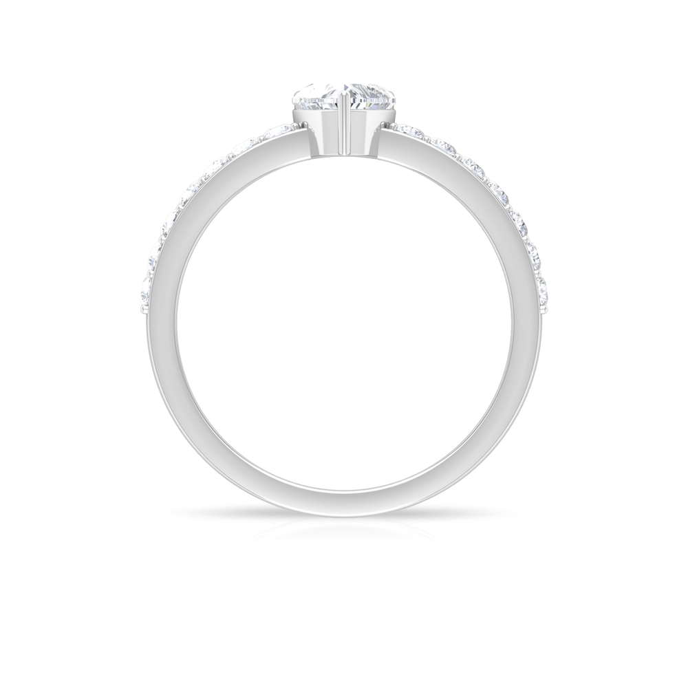3/4 CT Heart Shape Diamond Solitaire Ring in 3 Prong Setting with Surface Side Stones