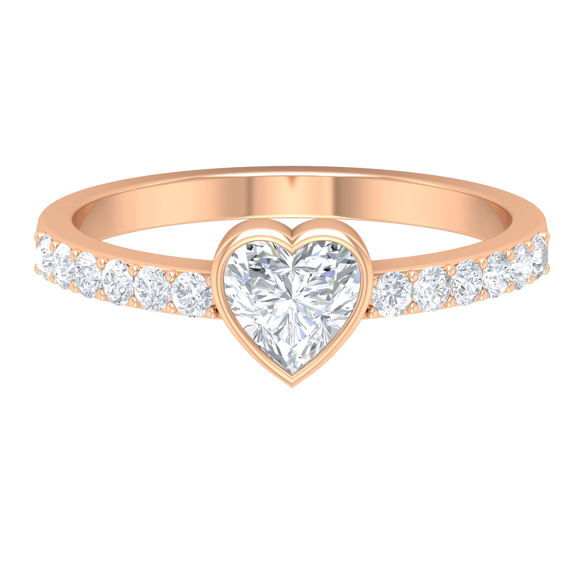 3/4 CT Heart Shape Diamond Solitaire Ring in Bezel Setting with Surface Side Stones