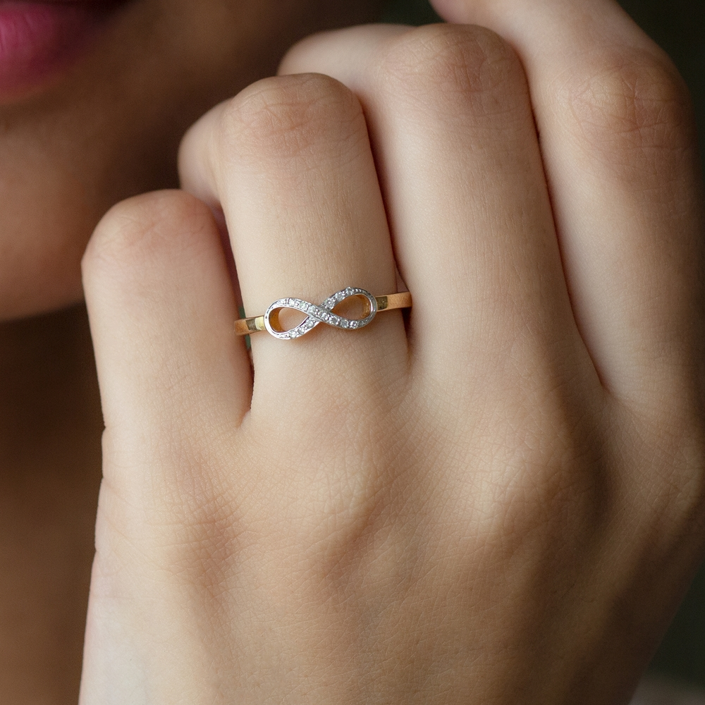 April Birthstone Pave Set Diamond Infinity Ring with Two Tone Gold