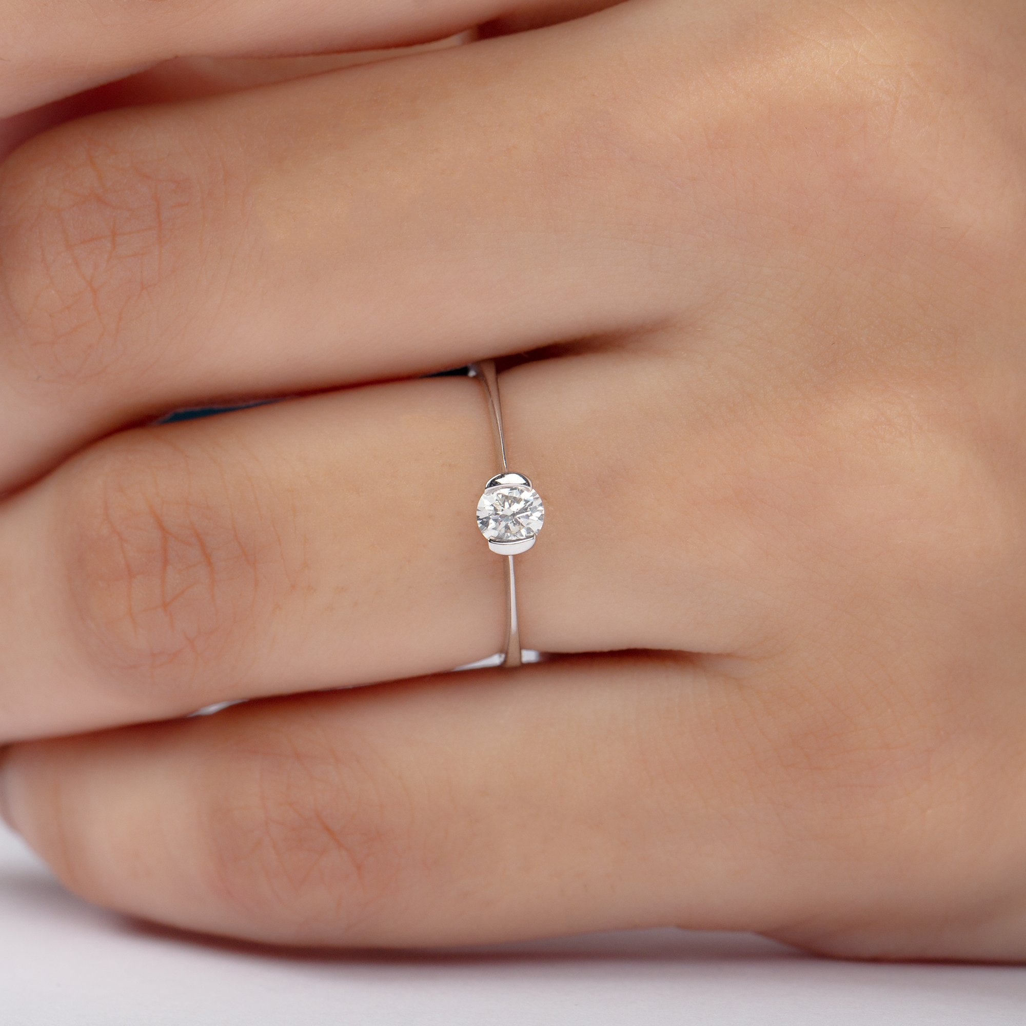 4X4 MM Round Shape Diamond Dainty Solitaire Ring in Half Bezel Setting
