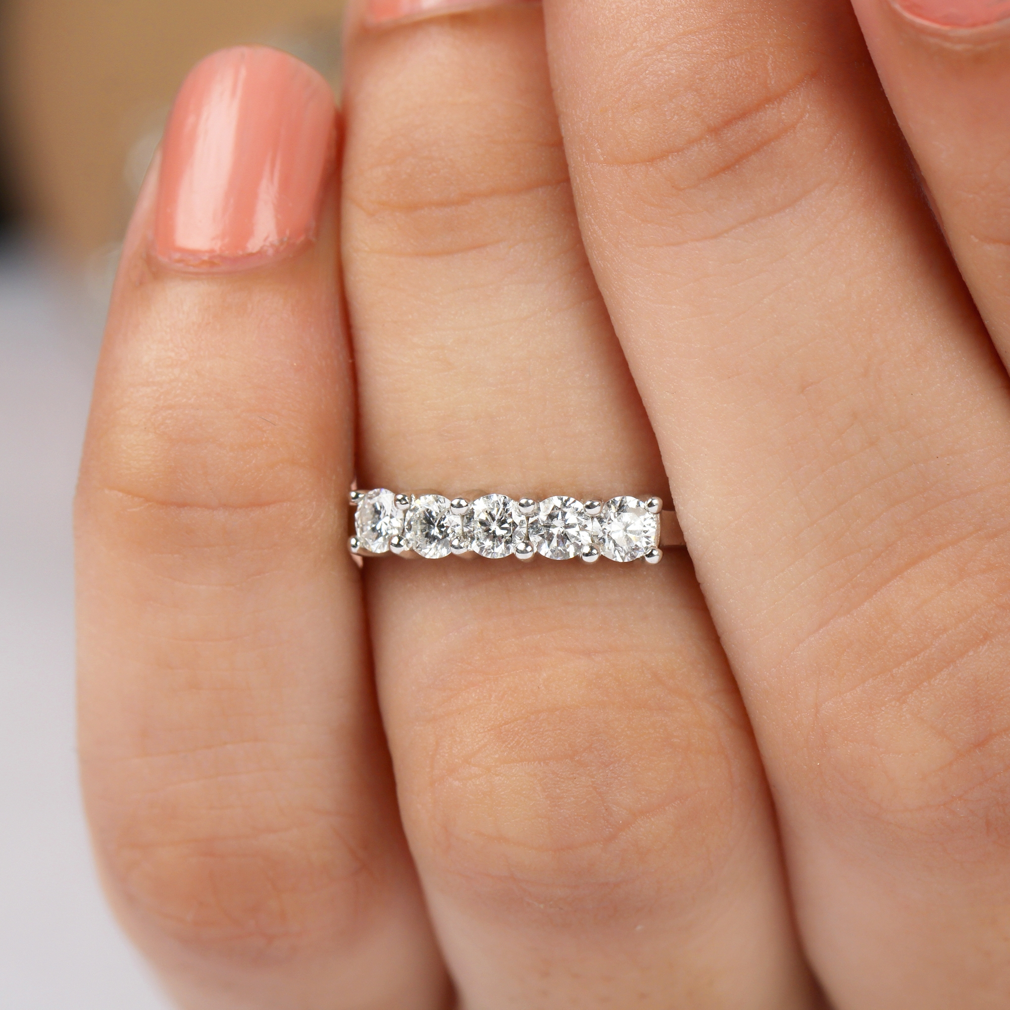 1/2 CT Round Shape Diamond Five Stone Ring in Shared Prong Setting