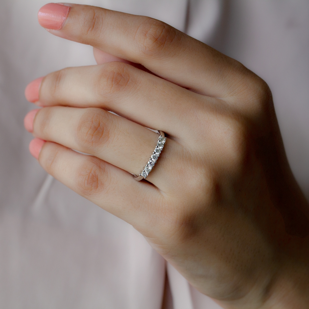 April Birthstone 1/2 CT Diamond Seven Stone Stackable Ring