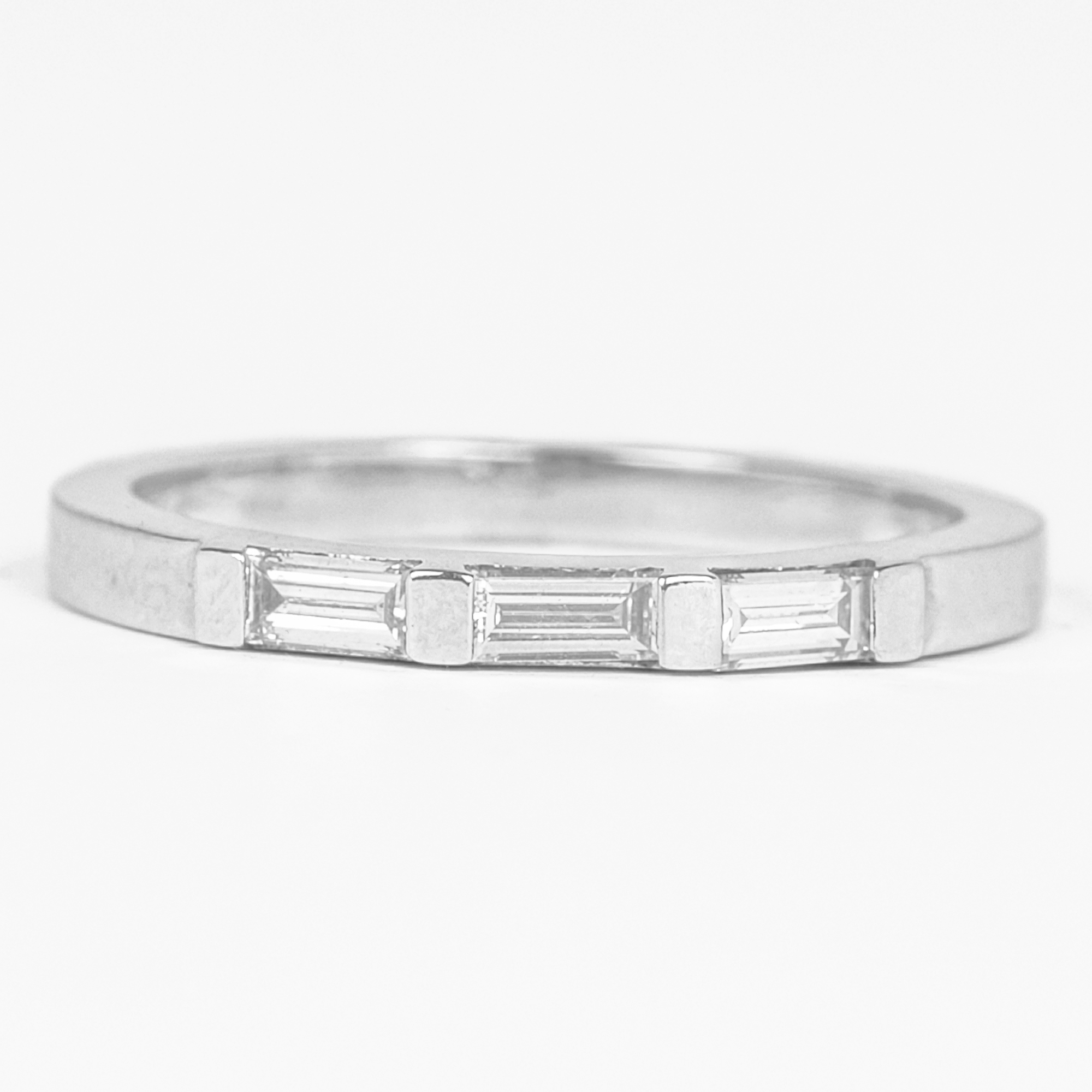 2X4 MM Baguette Shape Diamond Three Stone Stackable Ring in Bar Setting