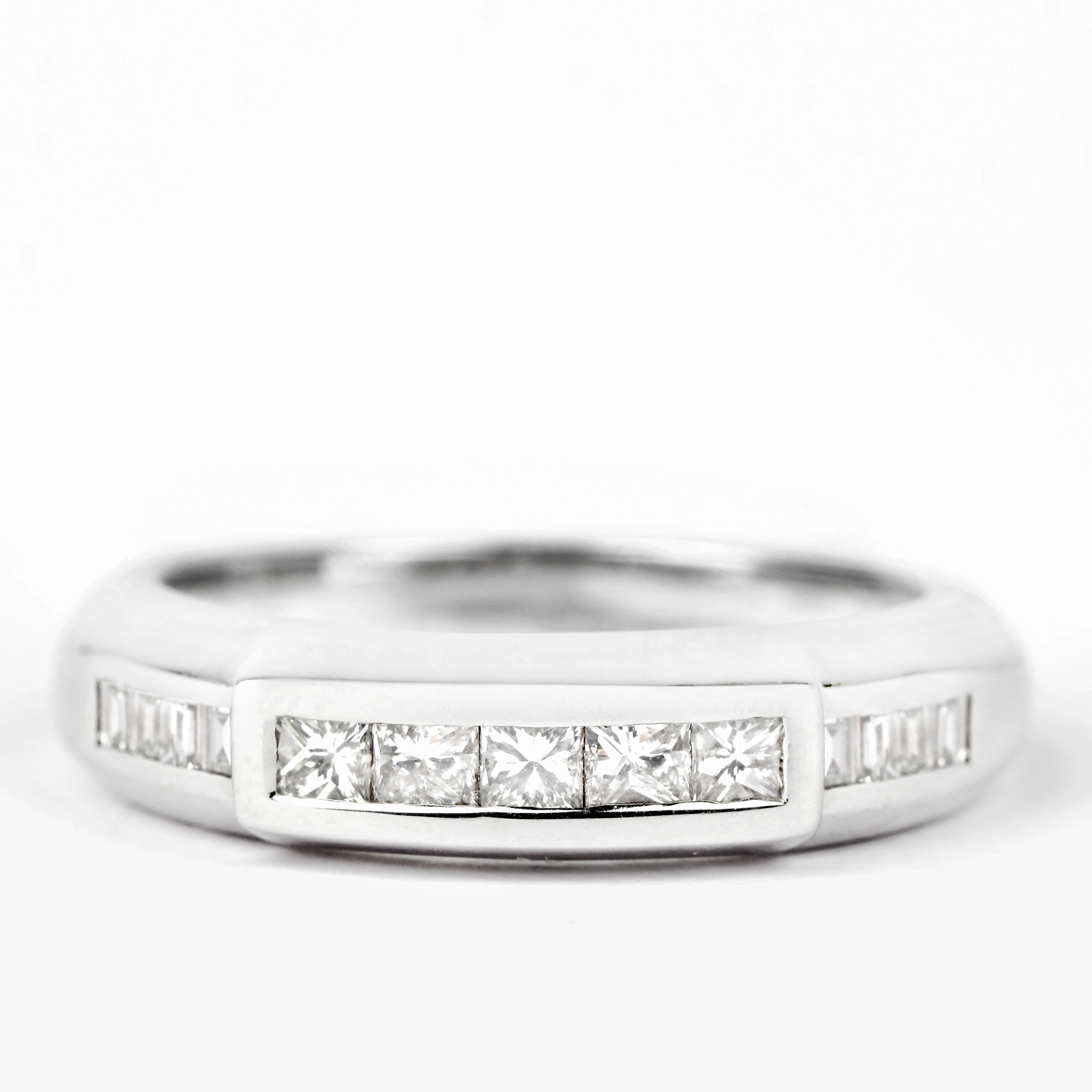 3/4 CT Princess and Baguette Cut Diamond Band Ring in Channel Setting