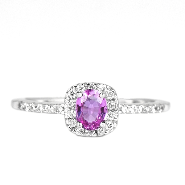 1/2 CT Oval Cut Pink Sapphire Minimal Engagement Ring with Diamond Accent