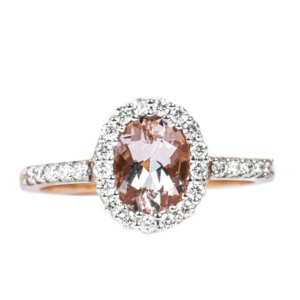 October Birthstone 1 CT Oval Cut Morganite Simple Engagement Ring with Diamond Accent