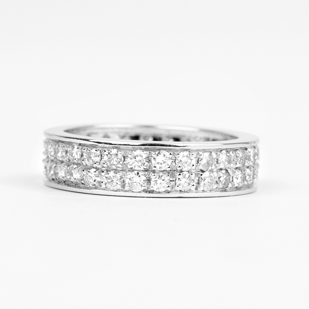 2.25 CT Round Shape Diamond Simple Wedding Bands in Prong Setting