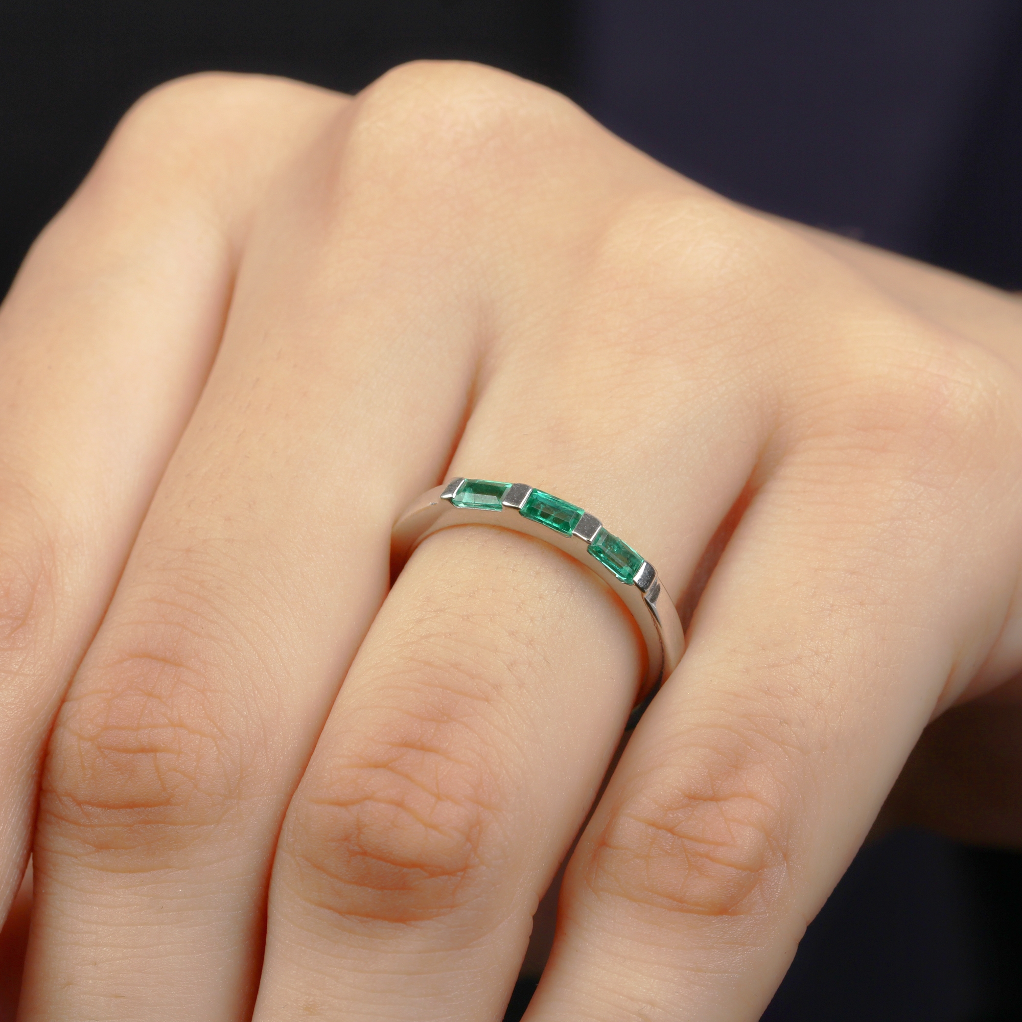 1/2 CT Bar Set Baguette Cut Emerald Three Stone Stackable Ring