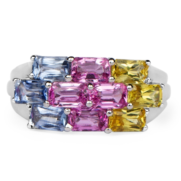 September Birthstone Octagon Cut Blue Sapphire, Yellow Sapphire and Pink Sapphire Cluster Engagement Ring