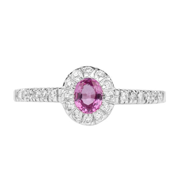 1/2 CT Classic Oval Cut Pink Sapphire Ring with Diamond Accent