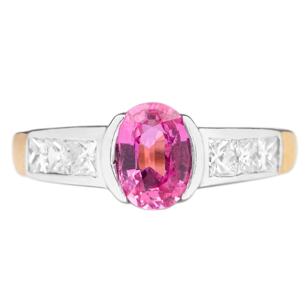 1.25 CT Oval Cut Pink Sapphire Engagement Ring with Diamond Side Stones