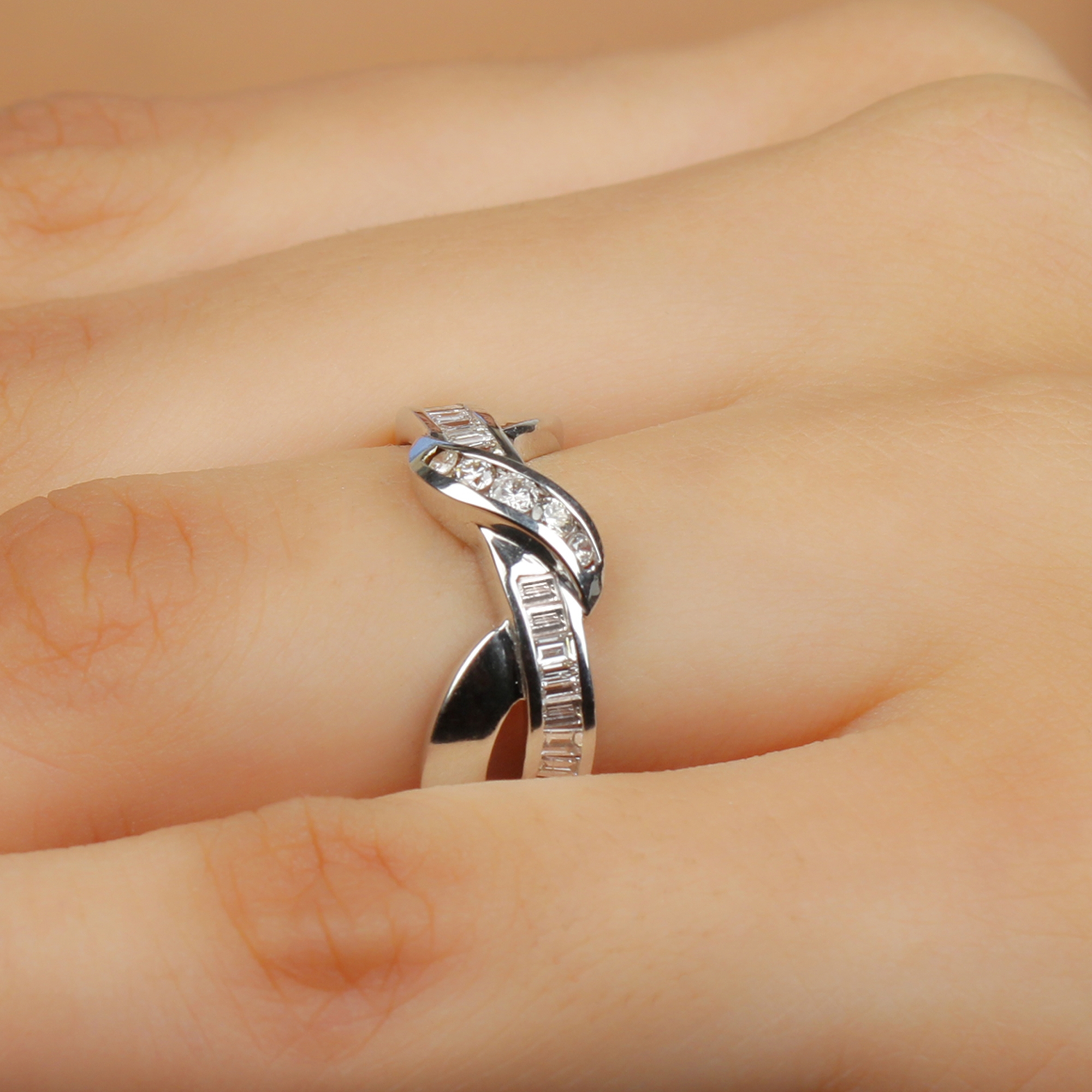 April Birthstone 1/2 CT Baguette and Round Cut Diamond Twisted Ring in Channel Setting