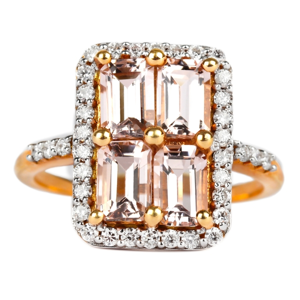 October Birthstone 2.75 CT Octagon Cut Morganite Cocktail Ring with Diamond Accent