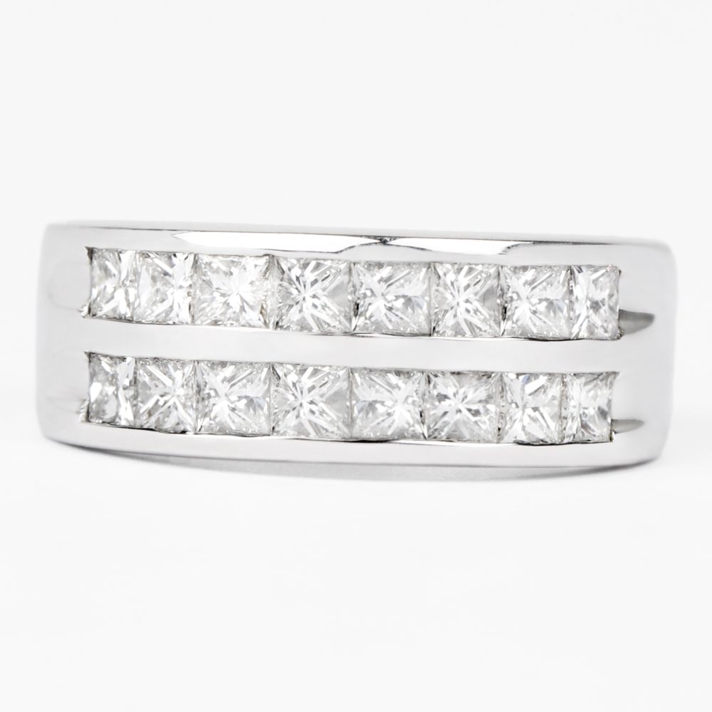 1.50 CT Princess Cut Diamond Two Row Band Ring in Channel Setting