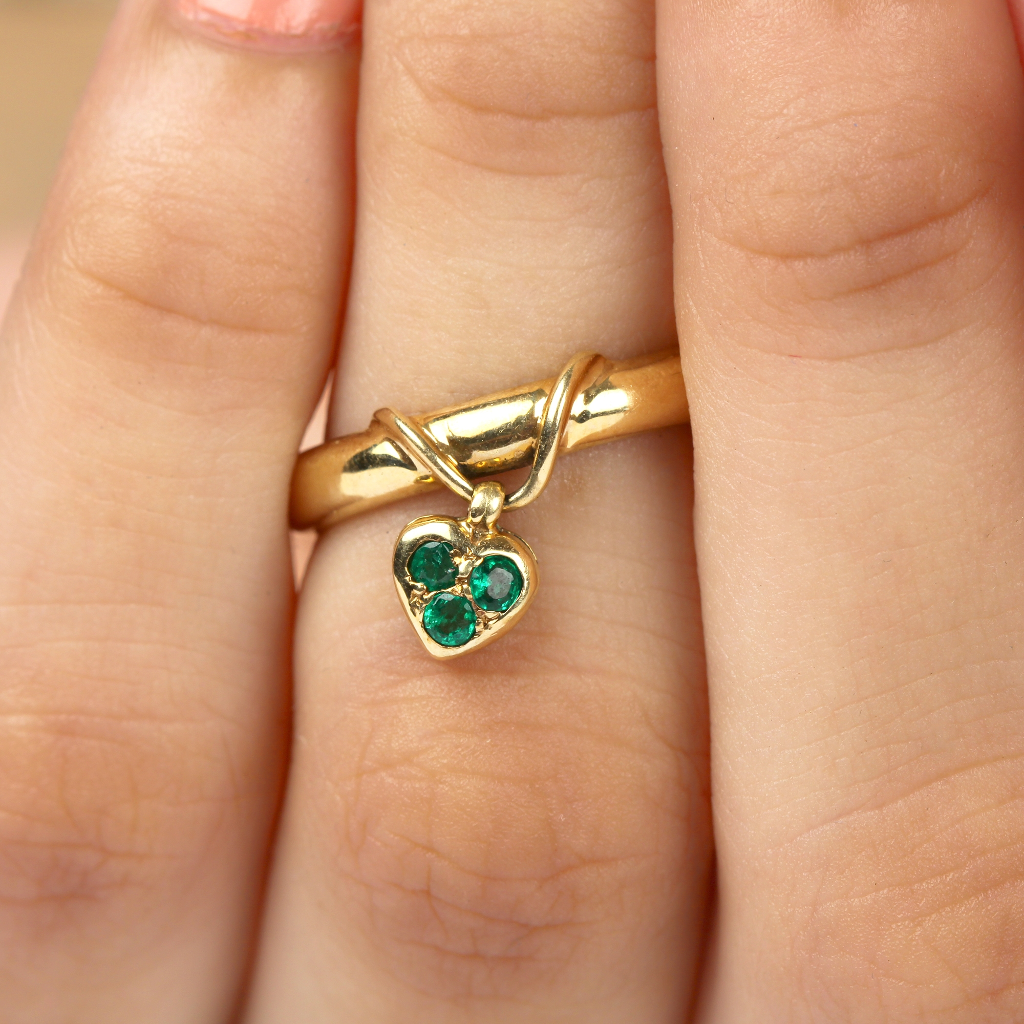 May Birthstone Emerald Promise Ring for Women