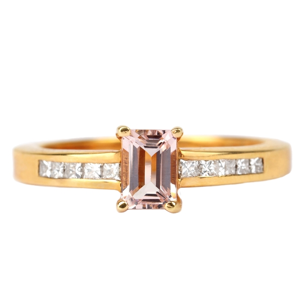 1 CT Octagon Cut Morganite Solitaire Ring with Diamond Side Stones