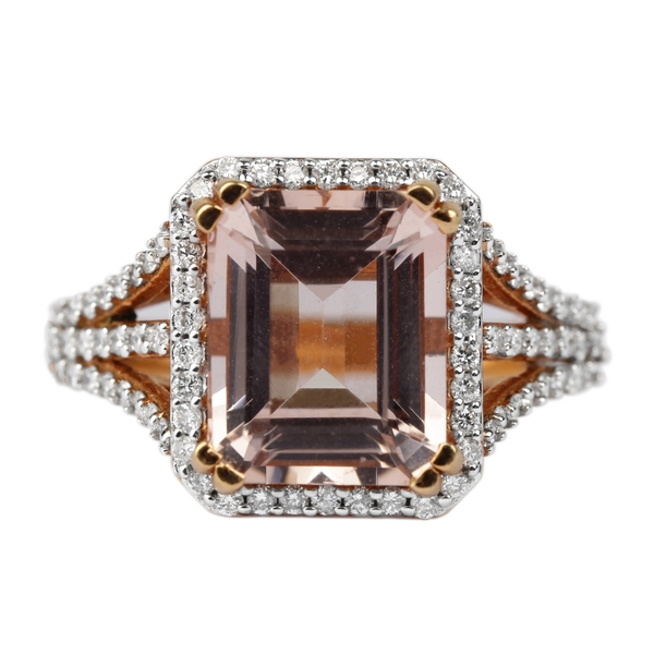 5.75 CT Octagon Cut Morganite Solitaire Cocktail Ring with Diamond Accent