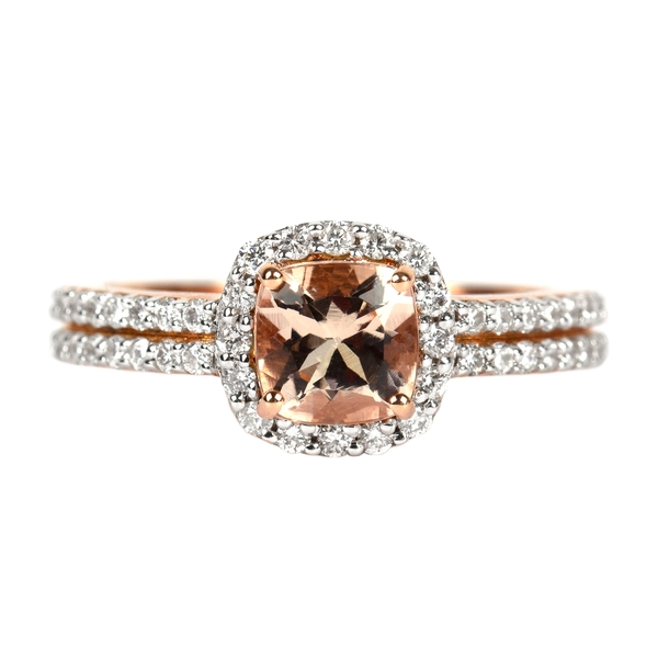 1.25 CT Cushion Cut Morganite Engagement Ring with Diamond Side Stones