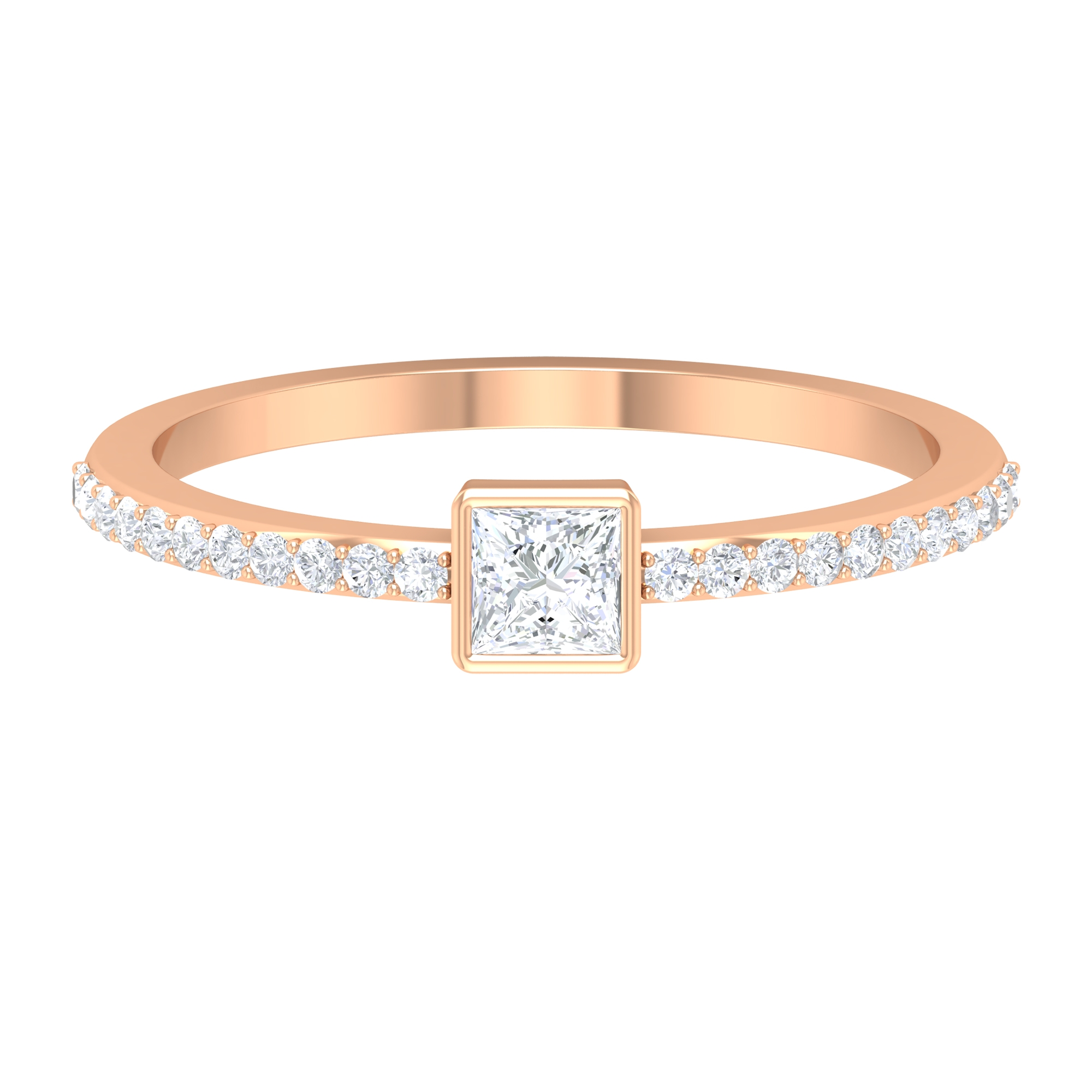 Bezel Set 0.50 CT Princess Cut Diamond Solitaire Ring with Surface Prong Set Side Stones