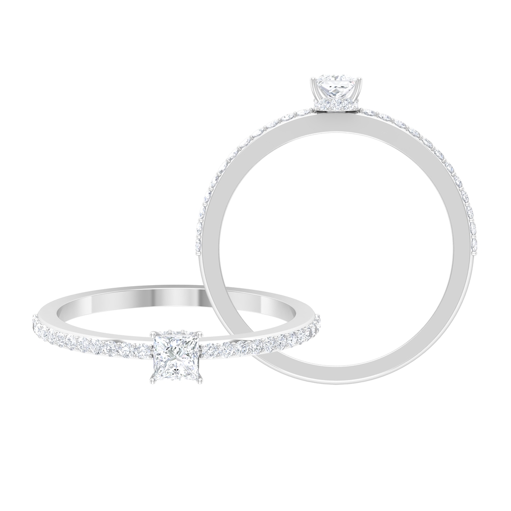 3.5 MM Princess Cut Diamond Solitaire Ring with Surface Prong Set and Hidden Halo Style