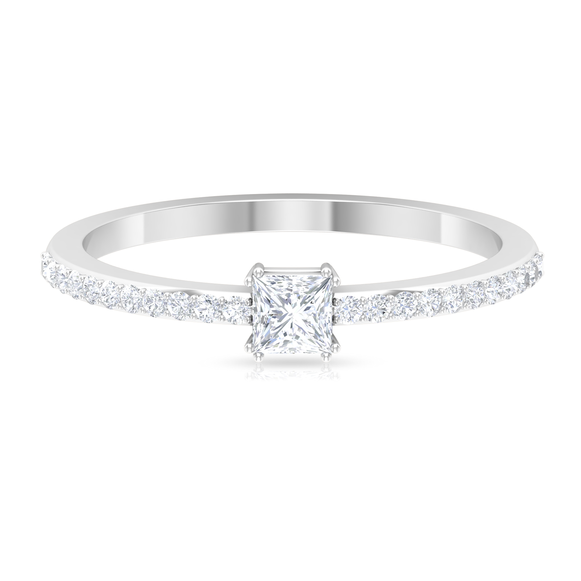 1/2 CT Princess Cut Solitaire Diamond Ring in Double Prong Setting with Surface Prong Set Diamond