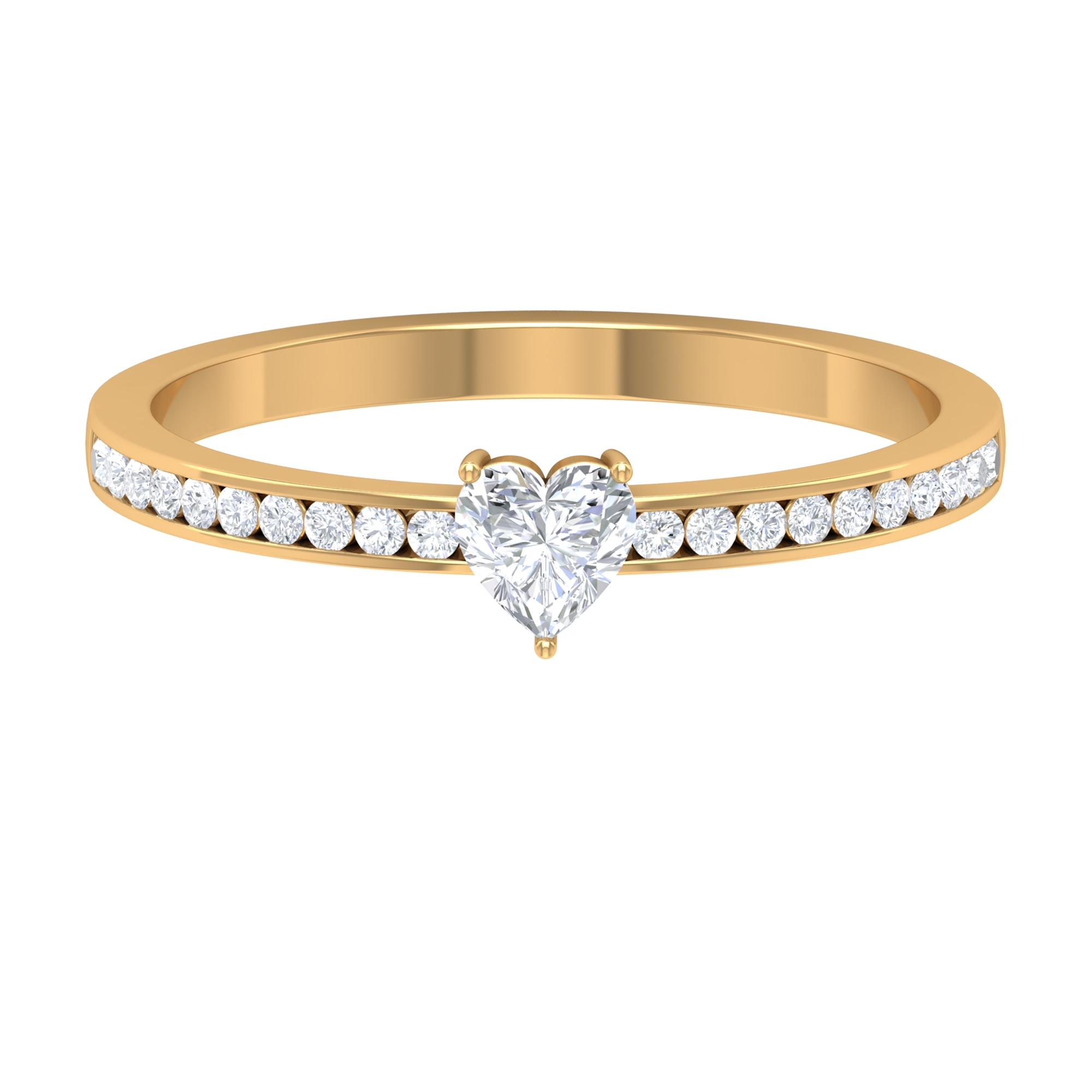 1/2 CT Heart Shape Diamond Solitaire Ring in 3 Prong Setting with Channel Set Diamond