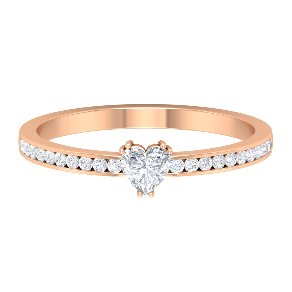 4X4 MM Heart Shape Diamond Solitaire Ring in Double Prong Setting with Side Stones