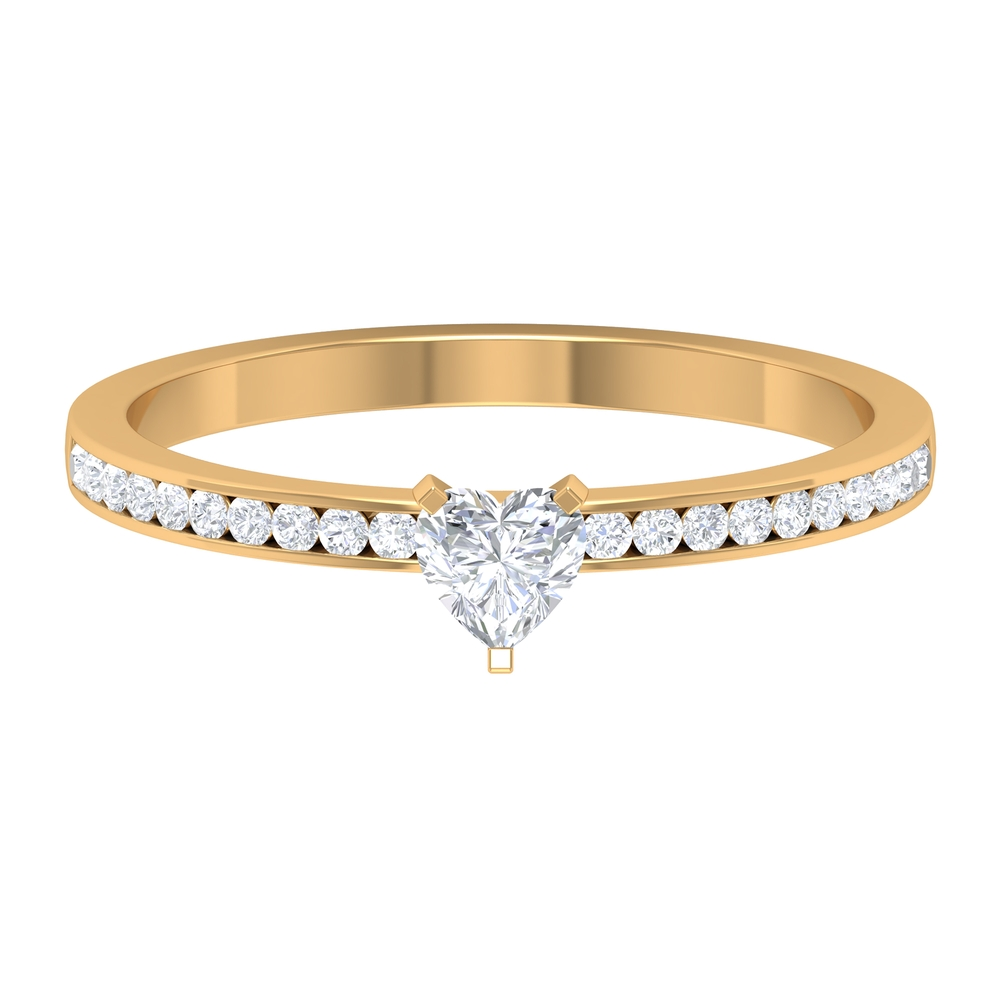 1/2 CT Heart Shape Diamond Solitaire Ring in 3 Prong Peg Head Setting with Channel Set Diamond