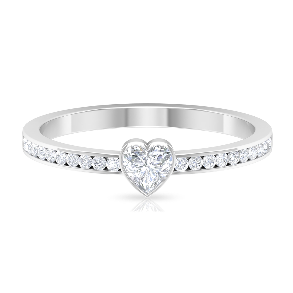 4X4 MM Heart Shape Diamond Solitaire Ring in Bezel Setting with Side Stones