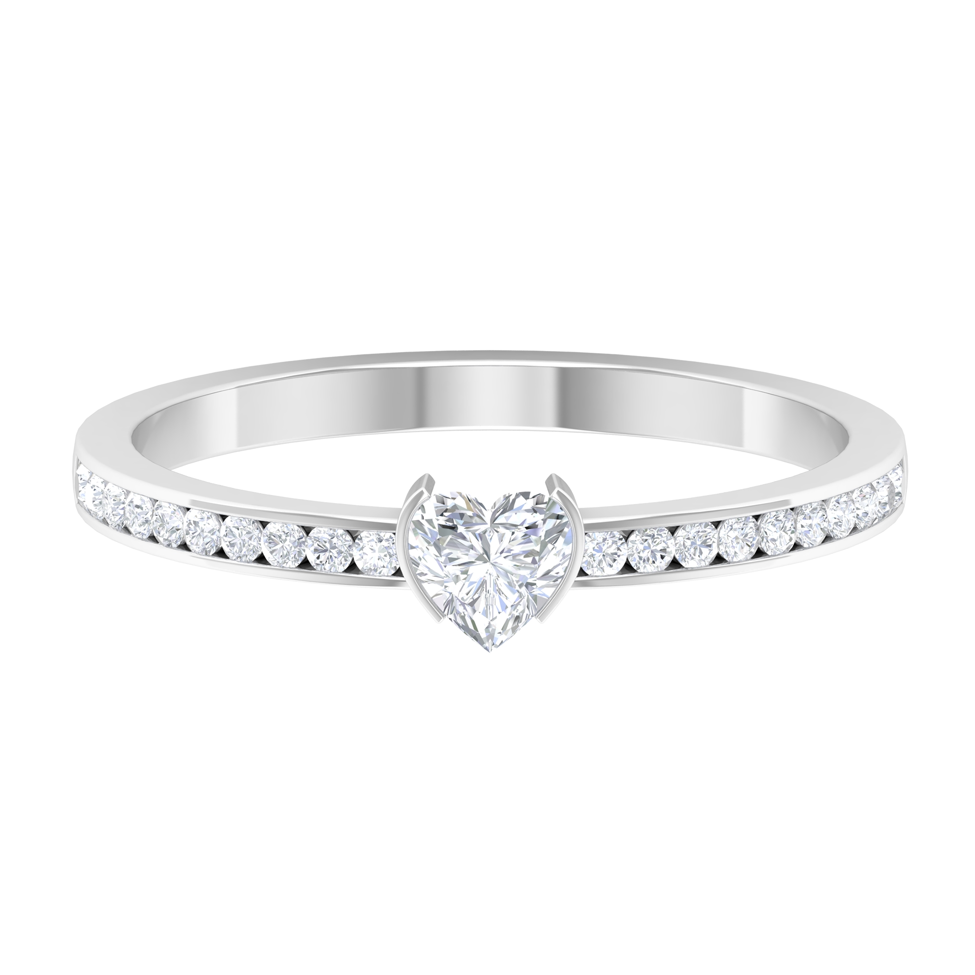 4X4 MM Heart Shape Diamond Solitaire Ring in Bar Setting with Side Stones