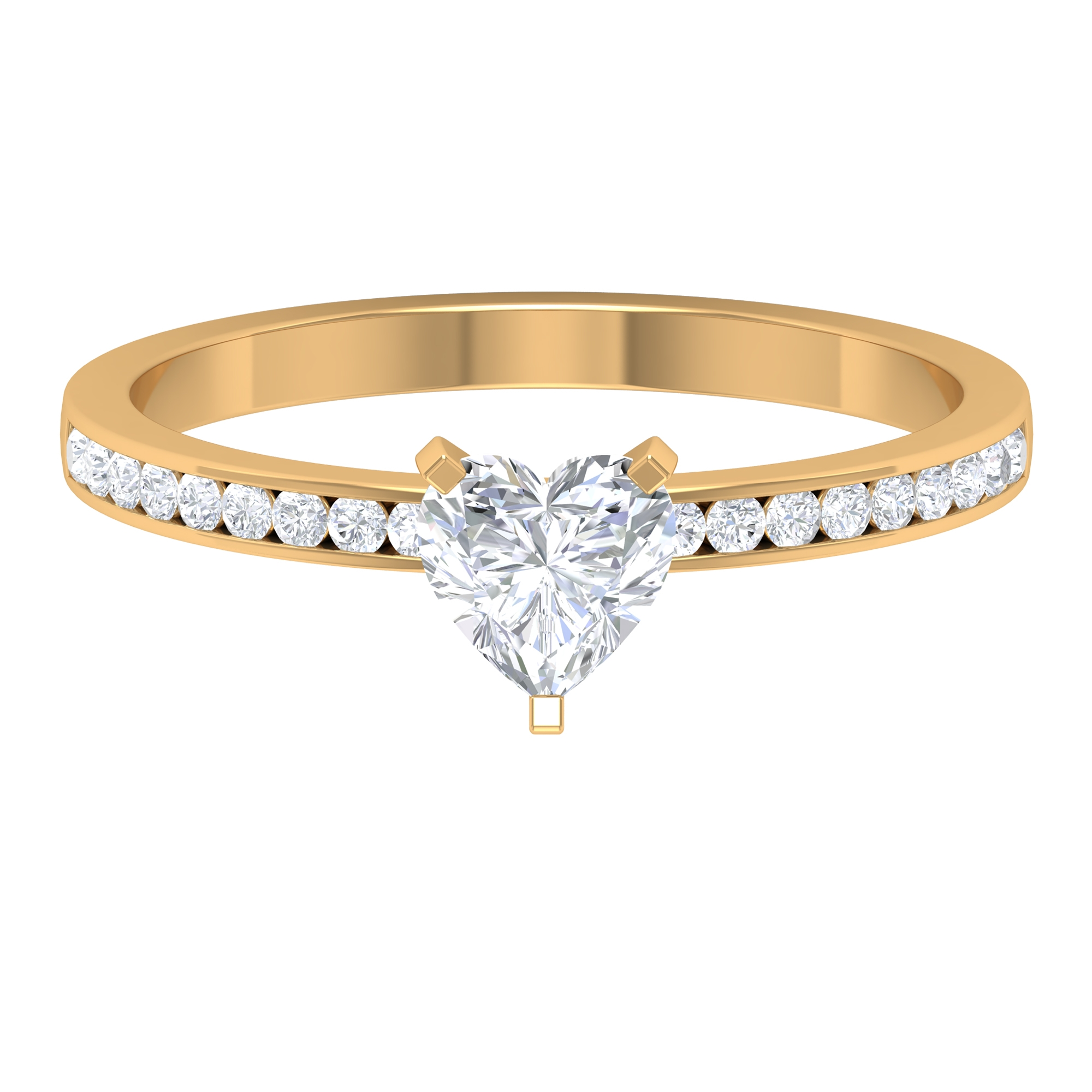 3/4 CT Heart Diamond Solitaire Ring in 3 Prong Peg Head Setting with Channel Set Side Stones