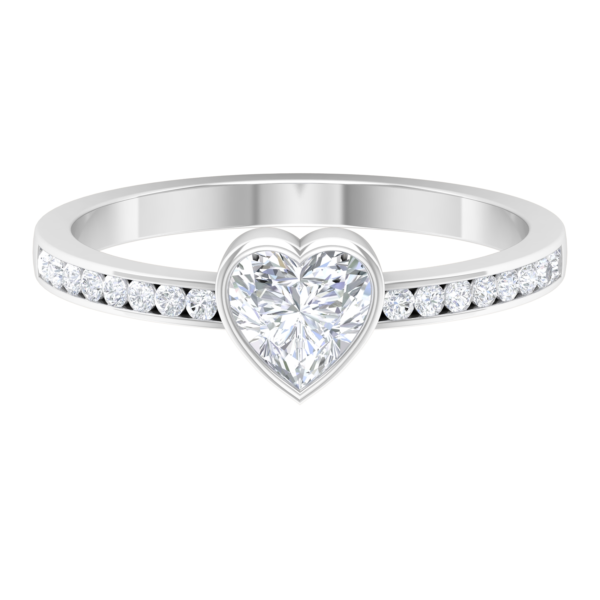 5.4X5.4 MM Heart Shape Diamond Solitaire Ring in Bezel Setting with Side Stones